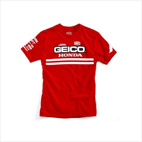 100% - SHIRT - CONTRAIL T-SHIRT GEICO/HONDA RED