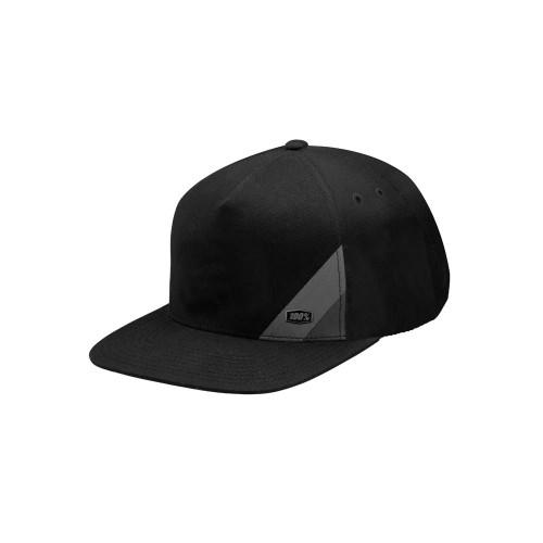 100% - HAT - WAXED SNAPBACK BLACK