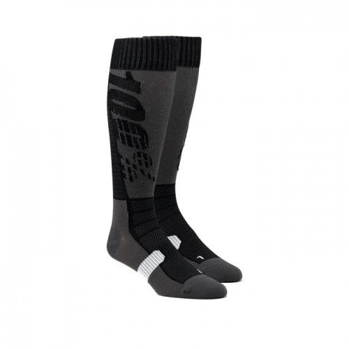 100% - SOCKS - HI SIDE PERFORMANCE MOTO SOCK - BLACK GREY