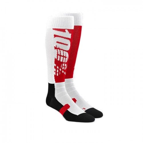 100% - SOCKS - HI SIDE PERFORMANCE MOTO SOCK - RED BLACK
