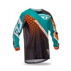 FLY RACING - JERSEY - KINETIC TRIFECTA BLACK TEAL FLUO ORANGE