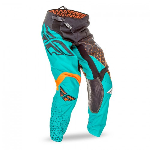 FLY RACING - MX PANTS - KINETIC TRIFECTA BLACK TEAL FLUO ORANGE