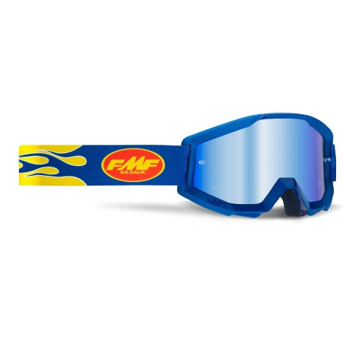 FMF - POWERCORE GOGGLES - FLAME NAVY MIRROR BLUE LENS